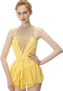 Yellow Figure Skating Dress,Sleeveless Ice Skating Skirt,Spandex Competition Dresses,Turtleneck Collar Mesh Skirt