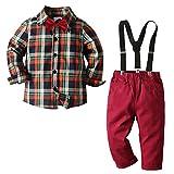 Nwada Jungen Hemd Und Hose Set Kinder Kariertes Spitzen Und Hosen Anzug Kleinkinder Formelles Outfit Kinder Weihnachtsanzug 5-6 Jahre Alt