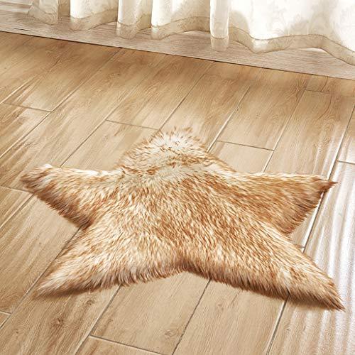 Area rug Faux Schaffell Bereich Teppich,shag Sternförmig Kindergarten Teppich Weich Maschine Waschbar Teppich Ideal Für Babys Kinderzimmer Spielmatte-leicht Khaki 60x60cm(24x24inch)