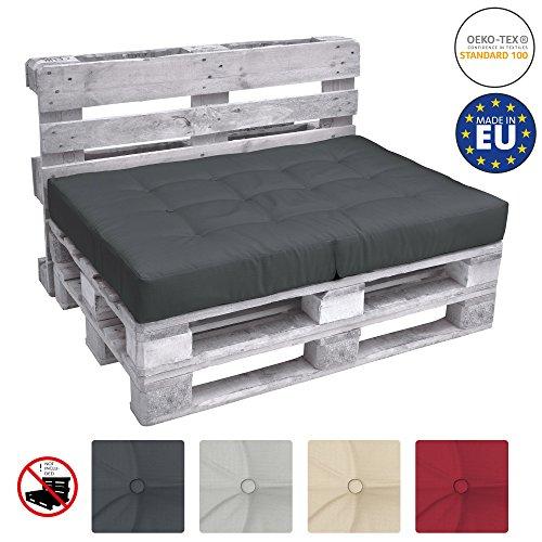 Beautissu Palettenkissen Premium Sitzkissen ECO Elements klappbar Palettenpolster Kissen Europalette 120x80x15 in Grau