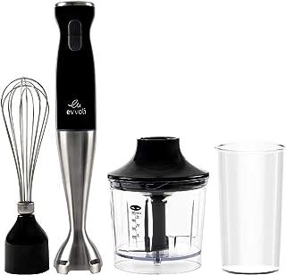 evvoli Hand Blender 4 in 1 Stainless Steel Stem Hand Blender with Chopper and Whisk, 550W Black EVKA-HBL4B 2 Years Warranty