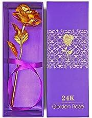 وردة من الذهب عيار 24 قيراط - وردة بحجم كبير مع صندوق هدية