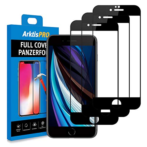 Arktis Panzerglas Panzerfolie [Full Cover Glas] Schutzfolie kompatibel mit iPhone SE (2020) vorne Displayschutzfolie 9H Härte [Hüllenfreundlich] - 3er Set