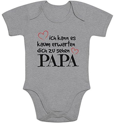 Shirtgeil Ich Kann Es Kaum Erwarten Dich Zu Sehen Papa Baby Body Kurzarm-Body, Grau, 40/56 (0-3M)