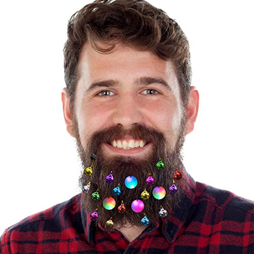 DecoTiny 20pcs Light Up Beard Ornaments, 16 Pcs Sounding Jingle Bells, 4 Pcs Beard Lights Beard Bauble Ornaments, Great Christmas and New Year Festival Gift for Friends Husband