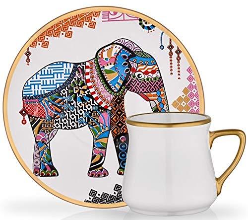 Atemberaubende Espresso- und türkische Kaffee-Demitasse-Tassen mit Untertassen, handgefertigt, 6 Stück, 12 Stück, 94 ml (Elefant)