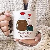 Mari57llis Coffee Mug Sushi and Soy Sauce You Are My Soymate Cute Kawaii Mug - Best Friends Coffee Mug