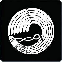 家紋 捺印マット 羽箒の丸紋 11cm x 11cm KN11-0249W 白紋