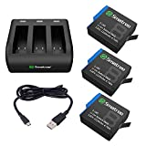 Smatree 3 Baterías con Cargador de 3 Canales Compatibles con el Firmware GoPro Hero 8 Black / 7/6 Black y Hero 5 Black V2.70