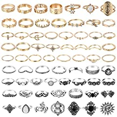 Vintage Rings Kit: You will get 38pcs gold rings, 29pcs silver rings in different design and 1pc storage bag which can store the rings well. Various Design: The rings set comes with a variety of styles- solid colors, hallow carved flowers, crystal-se...