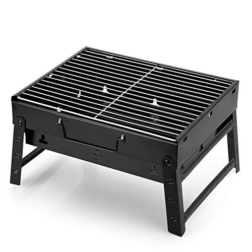 AGM Holzkohlegrill Picknickgrill Edelstahl Kleiner Grill Portable Campinggrill Abnehmbare BBQ Grills für Outdoor Garten Party usw. (38 x 27 x 20 cm)