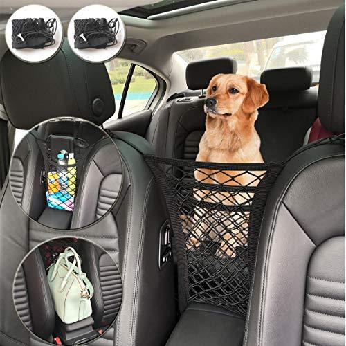 KITBEST Car Mesh Organizer (2 Pack), 3-Layer Car Storage Organizer Seat Back Net Bag, Barrier of Backseat Kids Children Pet Dog, Cargo Tissue Handbag Purse Holder, Driver Storage Netting Pouch