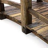 Nexos GH35013 Holzbrücke mit Geländer Teichbrücke Dunkelbraun Größe 150x67x55 cm Dekobrücke Holzsteg Gartenbrücke witterungsbeständig Gartendekoration Teichübergang, Braun - 3