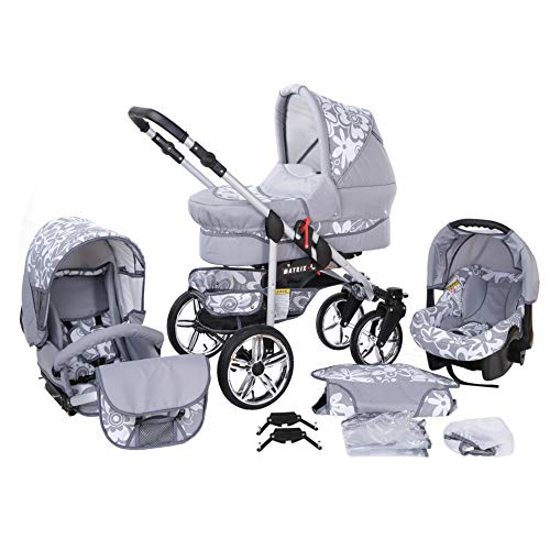 Travel System Stroller Pram Pushchair 2in1 3in1 Set Isofix X-Car by SaintBaby Graphite & Graphite Flowers 3in1 with Baby seat