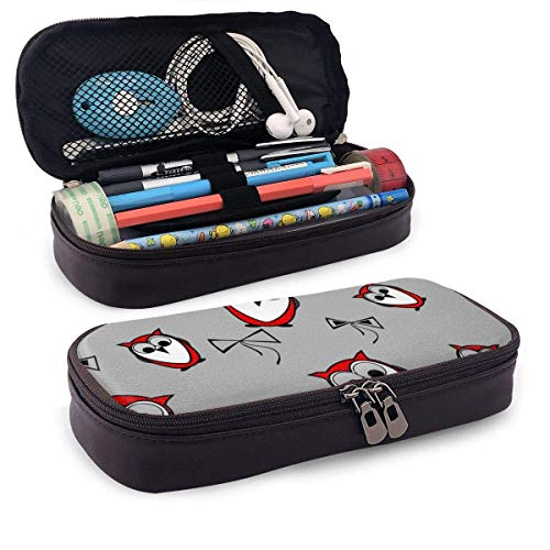 XCNGG Estuche para lápices neceser Red Owls Birds Pattern PU Leather Pencil Case School Office Use Zipper Stationery Organizer