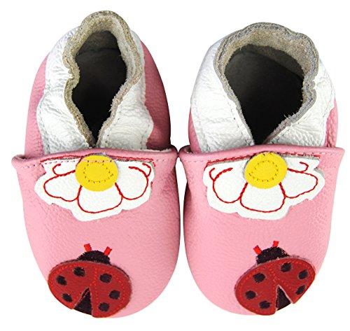 Axy bébé chaussons chaussures en cuir Chaussures bébé enfant de jardinage – Coccinelle - Rose - Mehrfarbig,