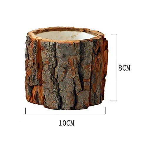 Maceta de madera con corteza Sauce natural Caja de macetas de troncos suculentas de cactus pequeños, Estilo de escritorio de bosque Natural Macetas de madera para macetas Portavelas hechas a mano