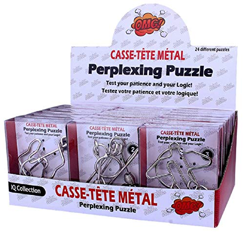 SHUYUE 24Pcs Assorted Metal Brain Teasers Large Metal Wire IQ Puzzles with Paper Box Gift Package...
