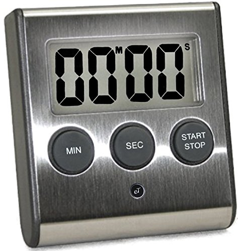 eTradewinds Elegant Digital Kitchen Timer, Stainless Steel Model eT-23, Super Strong Magnetic Back, Loud Alarm, Large Display, Auto Memory, Auto Shut-Off
