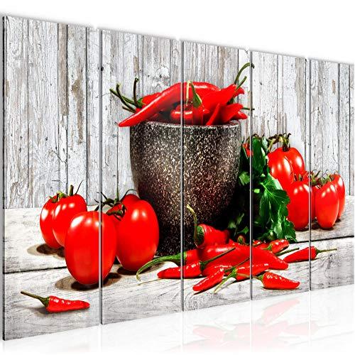 Bilder Küche - Gemüse Wandbild 200 x 80 cm - 5 Teilig Vlies - Leinwand Bild XXL Format Wandbilder Wohnzimmer Wohnung Deko Kunstdrucke Blau Grau - MADE IN GERMANY - Fertig zum Aufhängen 005855b