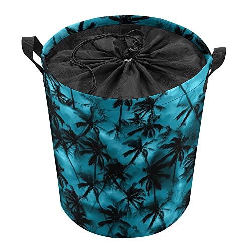 ELIENONO Bolsa de lavandería,Camisa de palmera Patrón tropical Siluetas negras Hojas de palmera en un cielo azul,Cesta de lavandería plegable grande,Cesto de ropa plegable,Papelera de lavado plegable