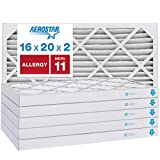Aerostar Allergen & Pet Dander 16x20x2 MERV 11 Pleated Air Filter, Made in the USA, (Actual Size: 15 1/2