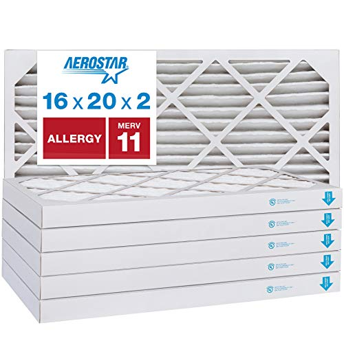 Aerostar Allergen & Pet Dander 16x20x2 MERV 11 Pleated Air Filter, Made in the USA, (Actual Size: 15 1/2'x19 1/2'x1 3/4'), 6-Pack