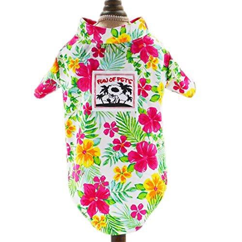 feiling Hawaii Hemd Hund Haustier Kleidung Shirt Pet T-Shirt Sommer Bequeme Hundmantel Hundekostüm Bunt Blumen Frühling Strand Shirt für Klein Mittlere Hunde (XL, weiß)