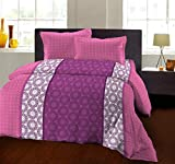 Bombay Dyeing 104 TC - Cotton Double Bedsheet with 2 Pillow Covers (Pink)