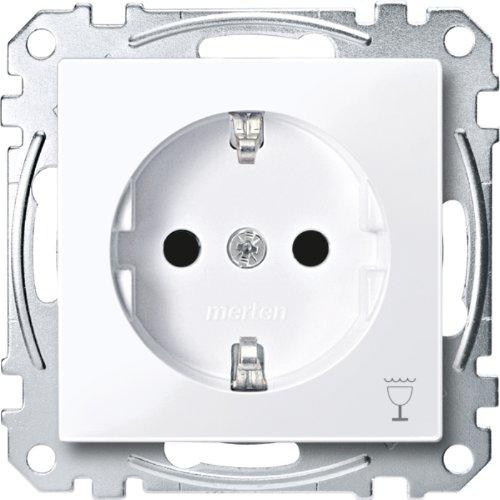 Merten MEG2353-0325 SCHUKO-stopcontact m. aanduiding. Vaatwasser, BRS, StK, actief wit glanzend, Sys. M.