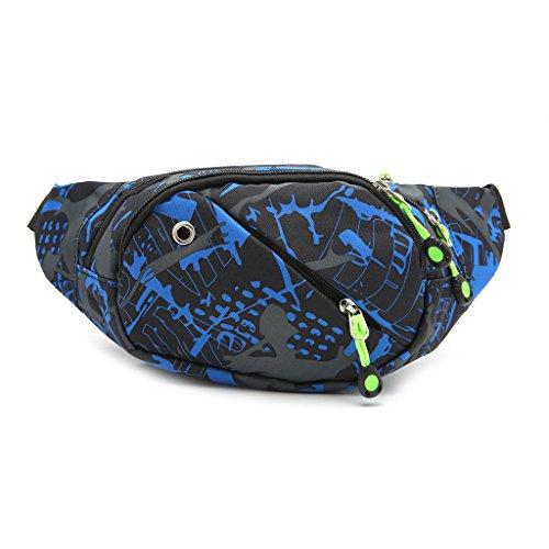 niumanery Fashion Men Running Gym Bum Waist Packs Bag Travel Camping Sport Chest Zip Pouch Blue 1#