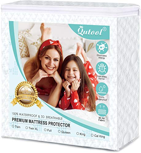 """Queen Bamboo Mattress Protector 100% Waterproof Hypoallergenic Mattress Pad Cover 3D Air Fabric Super Soft Smooth Bed Sheet Cover Fitted 8""""-21"""" Deep Pocket, Cooling, Breathable, Noiseless, Vinyl Free"""