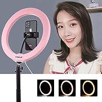 新しい10インチ26 cm USB 3モード調光LEDリングVlogging Selfie写真撮影ビデオコールドシューズ三脚ボールヘッドと電話クランプ Bingez (Color : Pink)