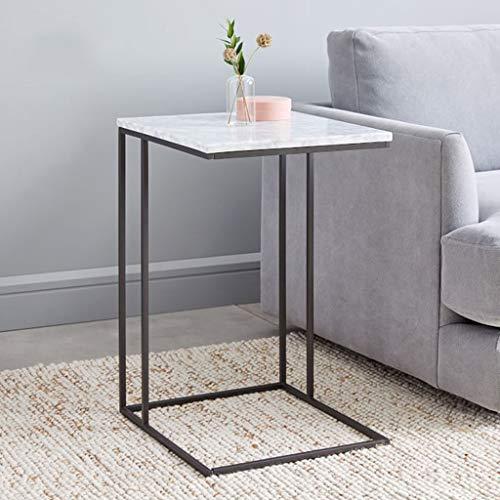 Wohnkultur Möbel Gelegentlich Sofa Tisch Einzigartig C-Form Beistelltisch, Marmor und Metal, Weiß schwarz, 50x30x62cm Wohnzimmer