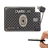 ChargeCard. Ultra-Thin Credit Card Sized Portable Charger & Battery Bank. (2300mAh/ 1.5A Fast Charge). External Battery Phone Charger That has Interchangeable Cables (Lightning, USB-C, Micro USB)