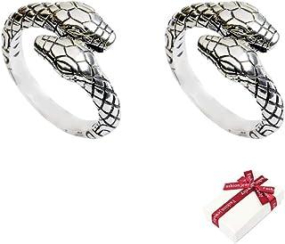 JKJF ثعبان خاتم الأزياء الشرير ثعبان خواتم قابل للتعديل ثعبان خواتم القوطية ريترو إصبع خاتم مع صندوق هدية للنساء والرجال -...