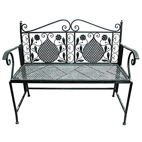 LINDER Gartenbank 107cm 2-Sitzer Antik Design Eisenbank Parkbank Sitzbank Gartenmöbel