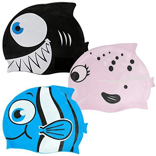 WENTS Cuffia da Nuoto Bambini 3 PCS Cuffia Piscina Bambino in Silicone atossico Antiscivolo Impermeabile Pesce e Squalo Cuffia da Nuoto per Bambini per Bambini e Bambine