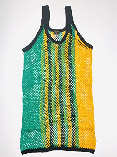 SPORTEX Mens Tank Top Mens Fitted String Mesh Vest Muscle Fishnet Cotton Rasta Black Red Green Yellow (Black, L)