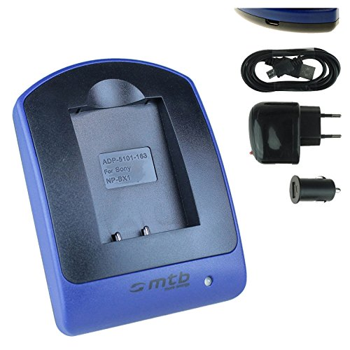 Ladegerät (USB, KFZ, Netz) für Sony NP-BX1 / HDR-AS50, AS200V, AS300 / HX400, RX100 (I,II,III,VI,V), WX500 / X1000V, X3000. s. Liste