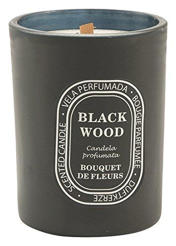 Galileo Casa Black Wood Geurkaars Bouquet de fleuren, was/glas, zwart, 8 x 8 x 10 cm