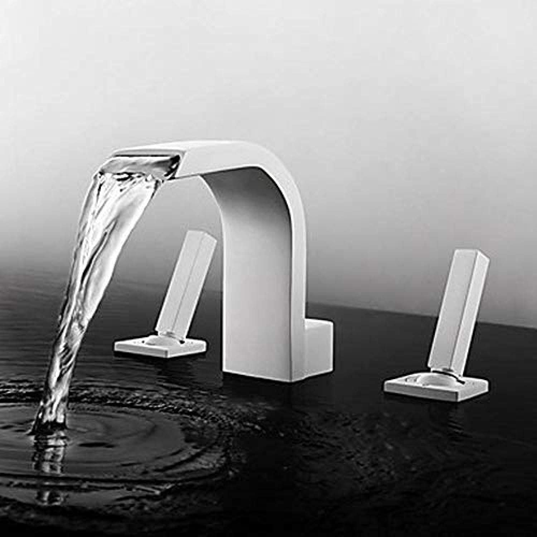 Wasserhahn-Badezimmer-Bassin-Hahn-Wasserfall-Breite Neues Design Painted Finish Double Double Handle Drei-Loch-Hahn