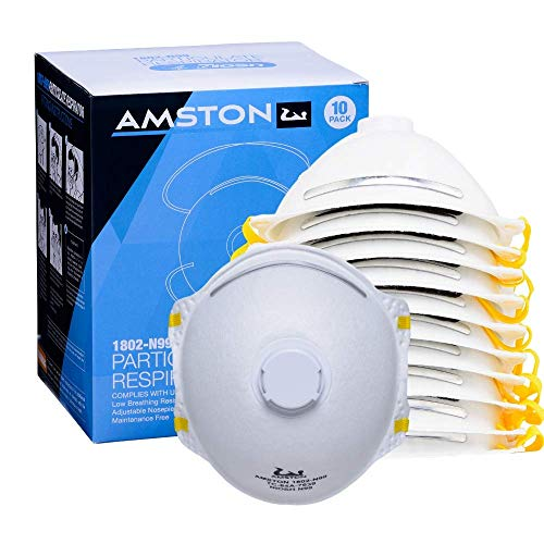 AMSTON 10-pk N99 Dust Masks - NIOSH-Certified - Safety Particulate Respirator w/ Valve for Professional & Home Use (Lightweight, Disposable, Soft, and Breathable)