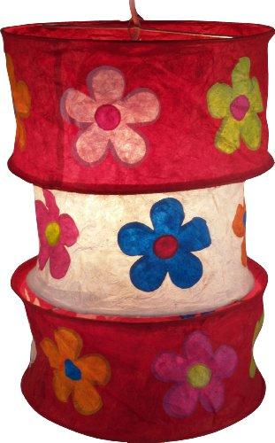 Guru-Shop Runde Papier Hängelampe, Lokta Papierlampenschirm Lhasa, Handgeschöpftes Papier - Rot, Lokta-Papier, 42x28x28 cm, Asiatische Deckenlampen aus Papier & Stoff