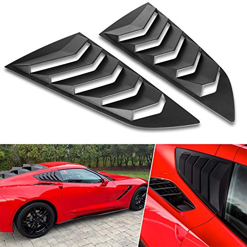 Cubierta de rejilla para ventana lateral de ventilación para 2014-2019 C7 Corvette (Stingray/Grand Sport/Z06/Z51/ZR1) en estilo GT Lambo (negro mate)