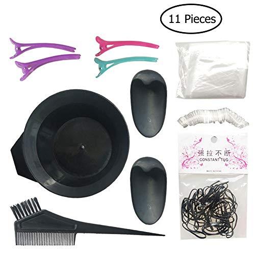 GCOA 11 PCS Faerbeset Haar Haarfärbung Färben Kit Haarfarbe DIY Werkzeug - Haarfärbung Bürste Kamm Schüssel Ohrenschutz Duschhaube Einweg Handschuhe Friseurumhänge und Gummiband