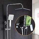 Grifos de ducha Baño de cromo grifo de la ducha del baño de ducha Conjunto de montaje en pared grifo de la bañera ducha de lluvia cabeza Plaza de bañera Set Sistema de Ducha
