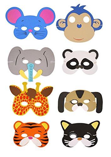 1 x Pack of 6 Wild Animal EVA Foam Masks - assorted designs
