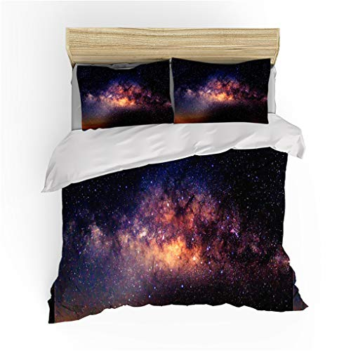 HNHDDZ King size Duvet Cover Set With Zipper, Galaxy Starry Sky Nebula Pattern Printing Duvet Cover 220x240 and 2 Pillowcase 50x75, Microfiber Black Red Yellow Bedding Set for Kids Boy Girl 3 Pieces