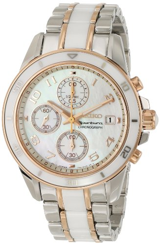 Seiko SNDX54 Two Tone Rosegold Mother of Pearl Dial Women's Ceramic Chronograph Watch